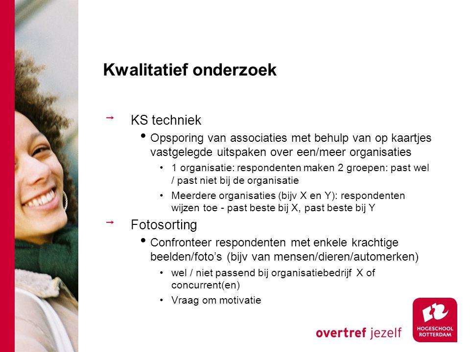 Kwalitatief onderzoek KS techniek Opsporing van associaties met behulp van op kaartjes vastgelegde uitspaken over een/meer organisaties 1 organisatie: