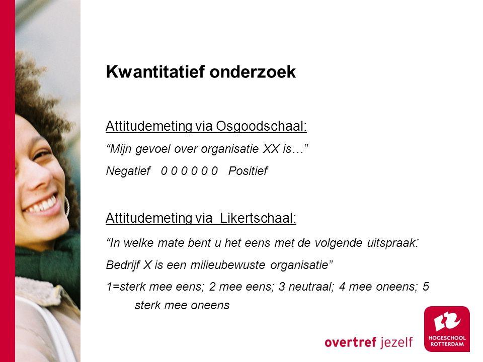 """Kwantitatief onderzoek Attitudemeting via Osgoodschaal: """"Mijn gevoel over organisatie XX is…"""" Negatief 0 0 0 0 0 0 Positief Attitudemeting via Likerts"""