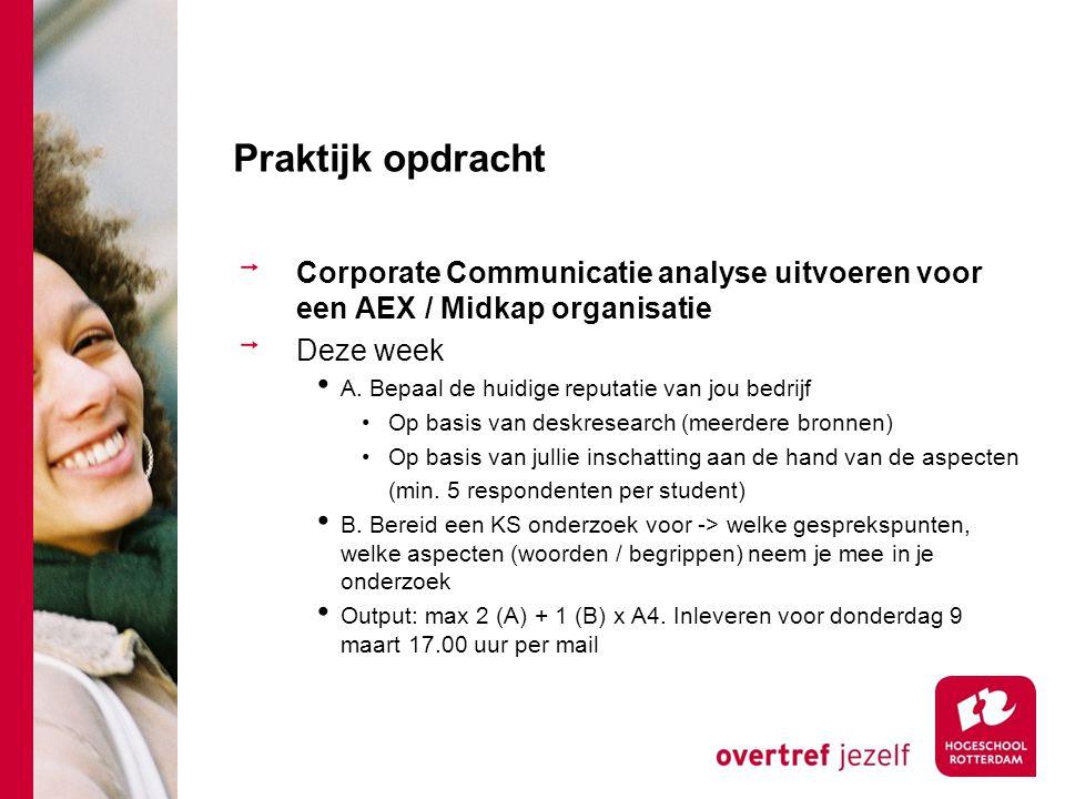 Praktijk opdracht Corporate Communicatie analyse uitvoeren voor een AEX / Midkap organisatie Deze week A. Bepaal de huidige reputatie van jou bedrijf