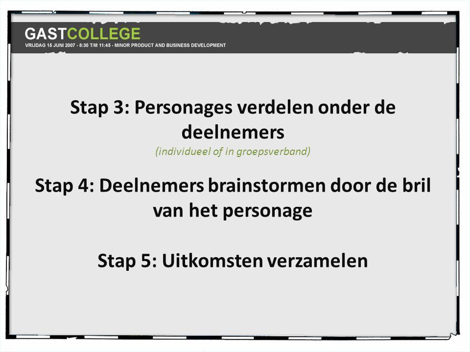 Stap 3: Personages verdelen onder de deelnemers (individueel of in groepsverband) Stap 4: Deelnemers brainstormen door de bril van het personage Stap 5: Uitkomsten verzamelen