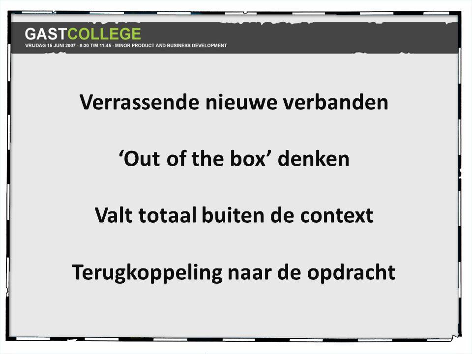 Verrassende nieuwe verbanden 'Out of the box' denken Valt totaal buiten de context Terugkoppeling naar de opdracht