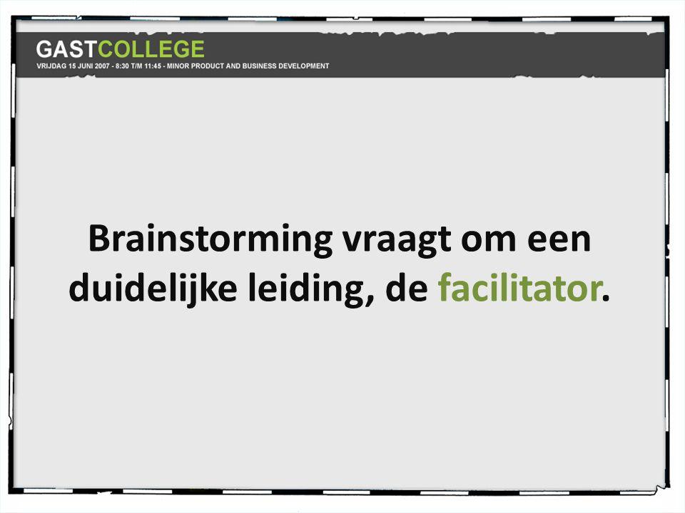 Brainstorming vraagt om een duidelijke leiding, de facilitator.