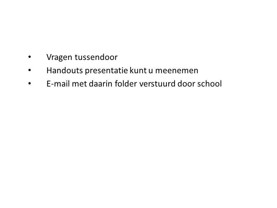 Vragen tussendoor Handouts presentatie kunt u meenemen E-mail met daarin folder verstuurd door school