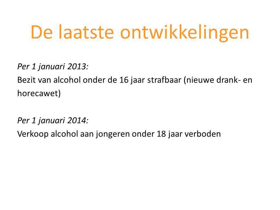 Per 1 januari 2013: Bezit van alcohol onder de 16 jaar strafbaar (nieuwe drank- en horecawet) Per 1 januari 2014: Verkoop alcohol aan jongeren onder 18 jaar verboden De laatste ontwikkelingen