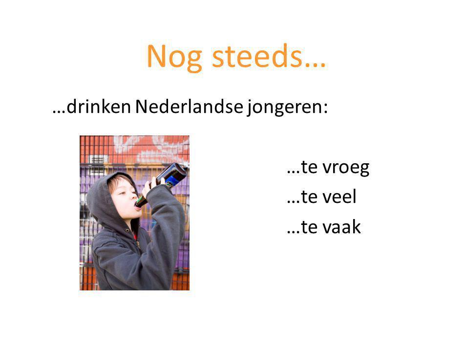 …drinken Nederlandse jongeren: …te vroeg …te veel …te vaak Nog steeds…