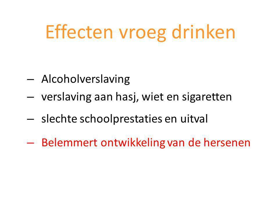 – Alcoholverslaving – verslaving aan hasj, wiet en sigaretten – slechte schoolprestaties en uitval – Belemmert ontwikkeling van de hersenen Effecten vroeg drinken