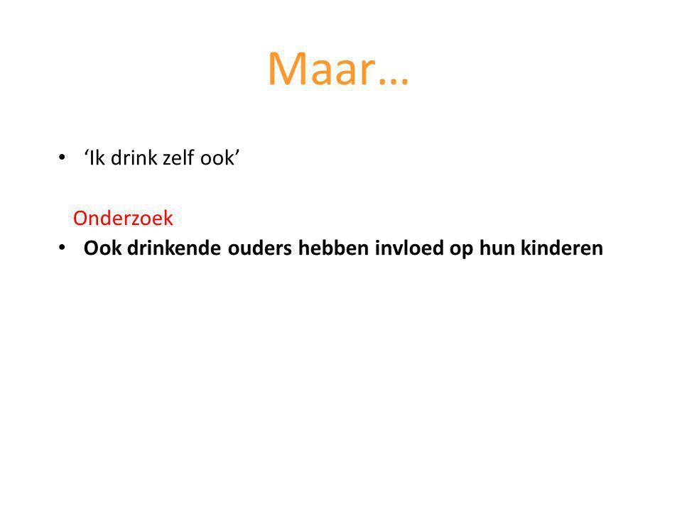 'Ik drink zelf ook' Onderzoek Ook drinkende ouders hebben invloed op hun kinderen Maar…