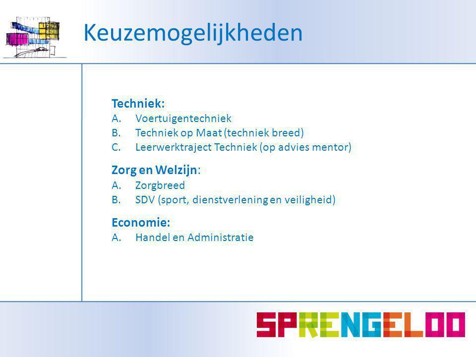 Keuzemogelijkheden Techniek: A.Voertuigentechniek B.Techniek op Maat (techniek breed) C.Leerwerktraject Techniek (op advies mentor) Zorg en Welzijn: A.Zorgbreed B.SDV (sport, dienstverlening en veiligheid) Economie: A.Handel en Administratie