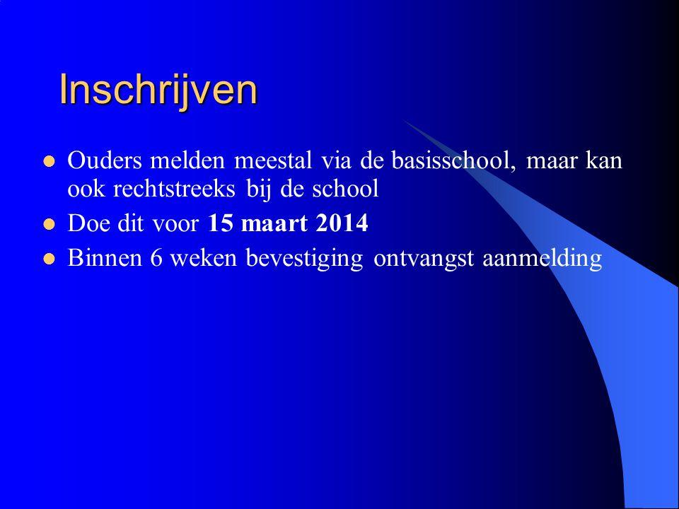 Inschrijven Ouders melden meestal via de basisschool, maar kan ook rechtstreeks bij de school Doe dit voor 15 maart 2014 Binnen 6 weken bevestiging on