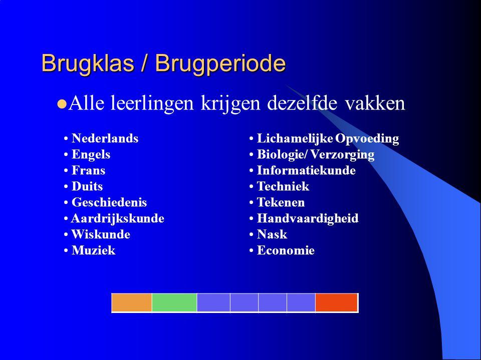 Brugklas / Brugperiode Lichamelijke Opvoeding Biologie/ Verzorging Informatiekunde Techniek Tekenen Handvaardigheid Nask Economie Nederlands Engels Fr