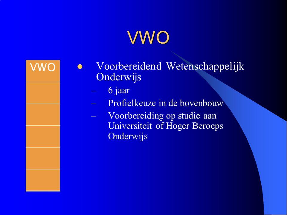 VWO Voorbereidend Wetenschappelijk Onderwijs –6 jaar –Profielkeuze in de bovenbouw –Voorbereiding op studie aan Universiteit of Hoger Beroeps Onderwij