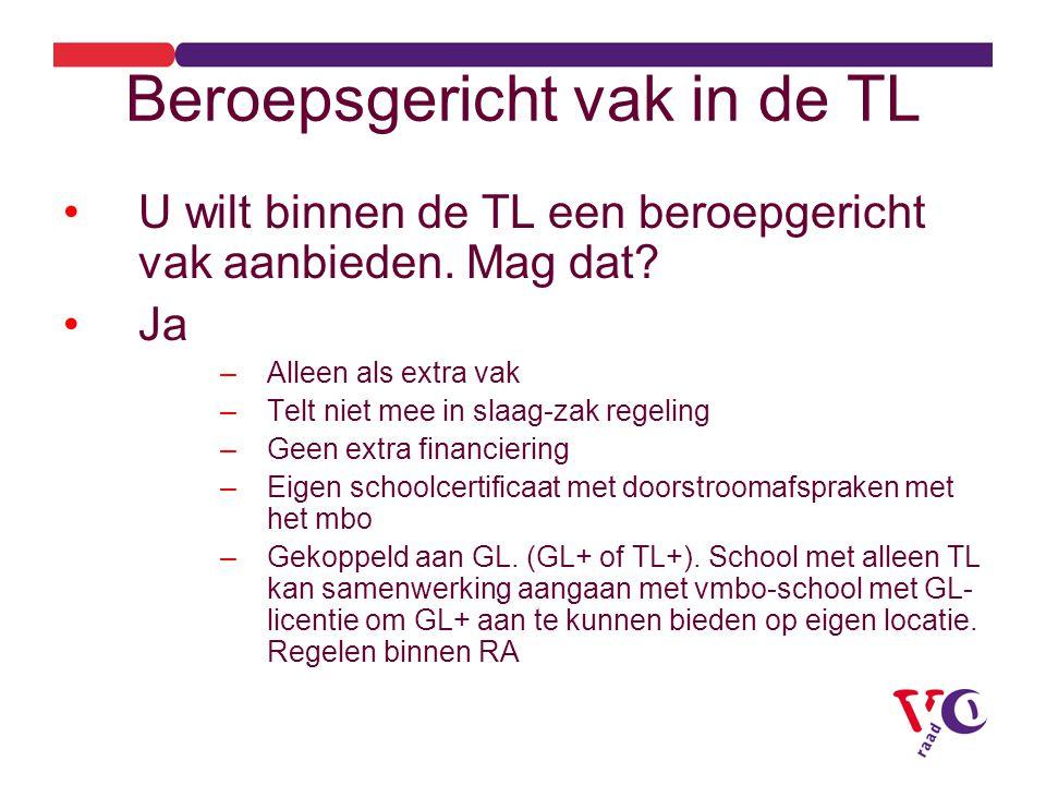 Beroepsgericht vak in de TL U wilt binnen de TL een beroepgericht vak aanbieden.