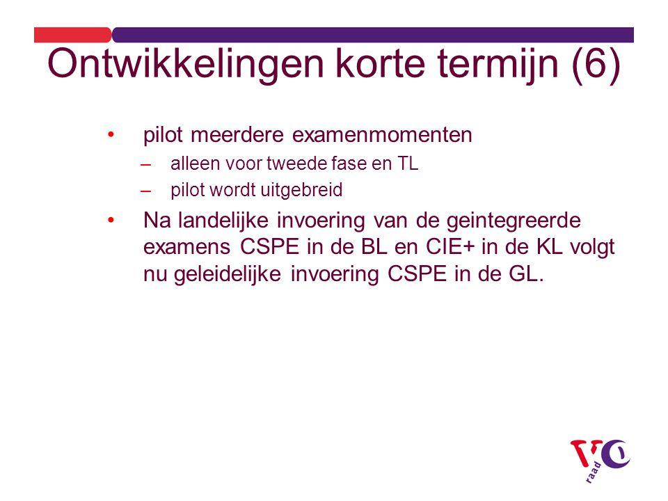 Ontwikkelingen korte termijn (6) pilot meerdere examenmomenten –alleen voor tweede fase en TL –pilot wordt uitgebreid Na landelijke invoering van de geintegreerde examens CSPE in de BL en CIE+ in de KL volgt nu geleidelijke invoering CSPE in de GL.