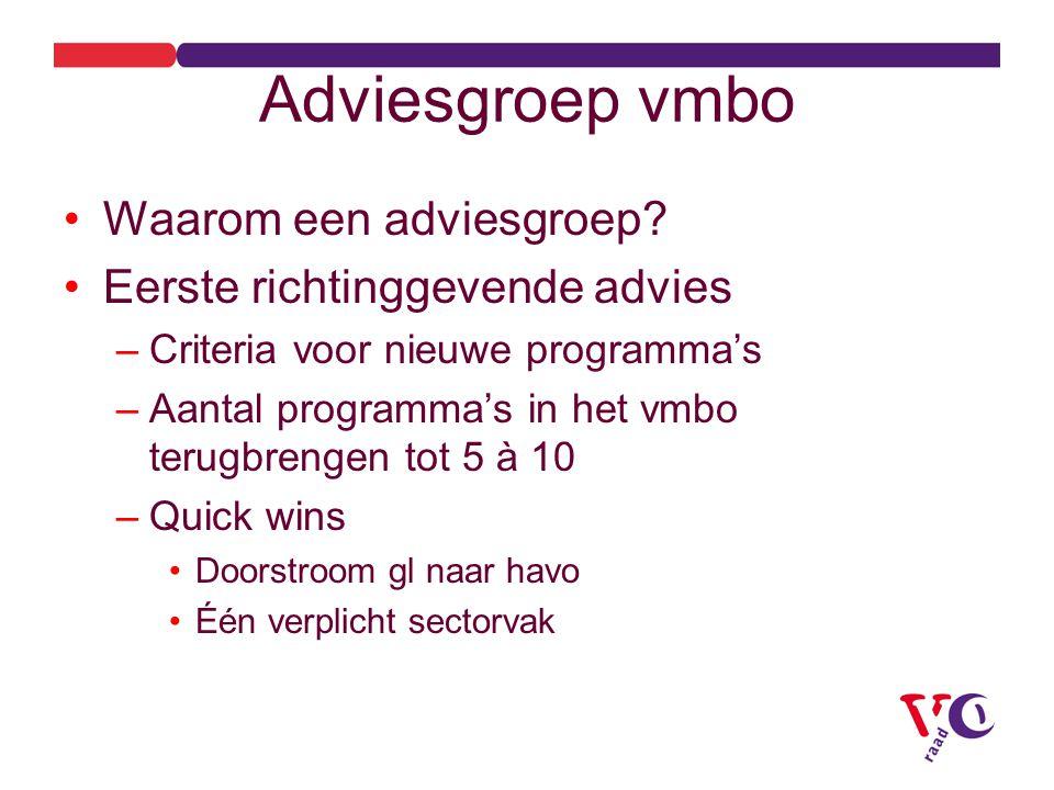 Adviesgroep vmbo Waarom een adviesgroep.
