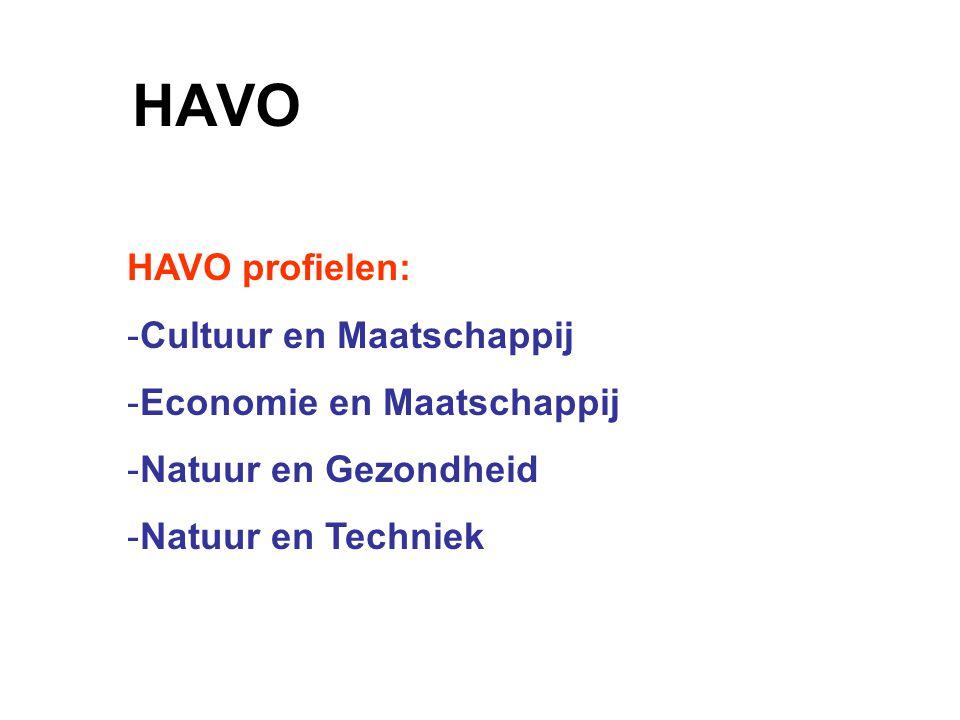 HAVO HAVO profielen: -Cultuur en Maatschappij -Economie en Maatschappij -Natuur en Gezondheid -Natuur en Techniek