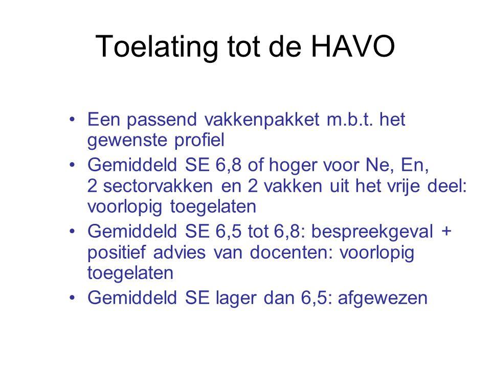 Toelating tot de HAVO Een passend vakkenpakket m.b.t. het gewenste profiel Gemiddeld SE 6,8 of hoger voor Ne, En, 2 sectorvakken en 2 vakken uit het v