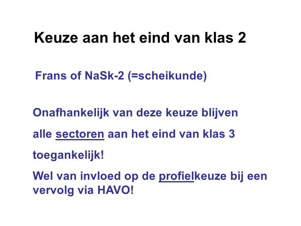 Keuze aan het eind van klas 2 Frans of NaSk-2 (=scheikunde) Onafhankelijk van deze keuze blijven alle sectoren aan het eind van klas 3 toegankelijk! W