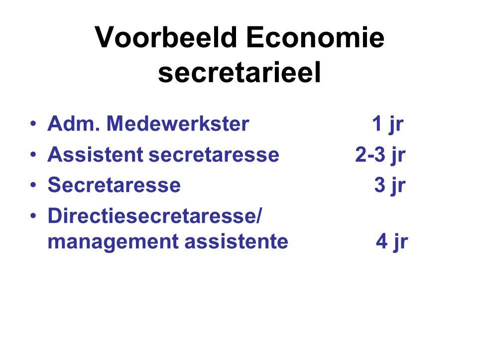 Voorbeeld Economie secretarieel Adm. Medewerkster 1 jr Assistent secretaresse 2-3 jr Secretaresse 3 jr Directiesecretaresse/ management assistente 4 j