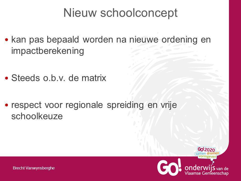 kan pas bepaald worden na nieuwe ordening en impactberekening Steeds o.b.v. de matrix respect voor regionale spreiding en vrije schoolkeuze Nieuw scho