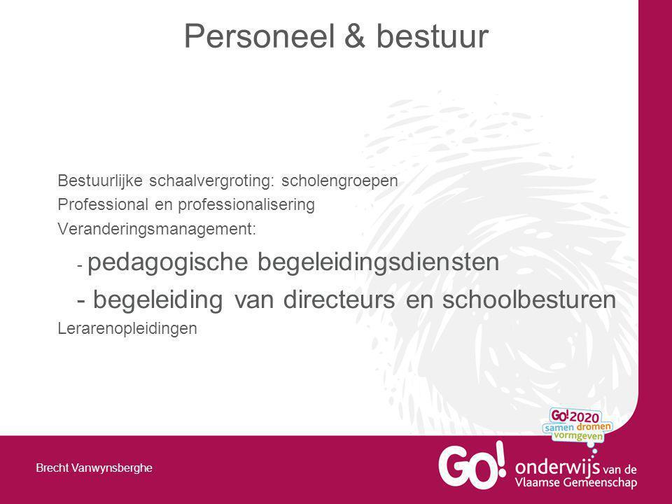 Bestuurlijke schaalvergroting: scholengroepen Professional en professionalisering Veranderingsmanagement: - pedagogische begeleidingsdiensten - begele