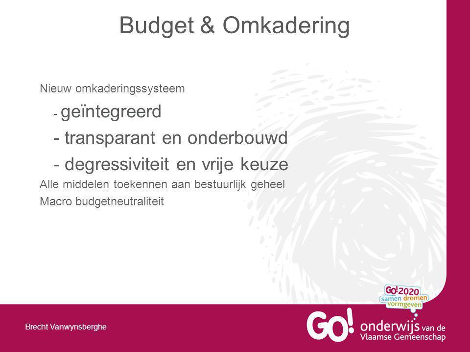 Nieuw omkaderingssysteem - geïntegreerd - transparant en onderbouwd - degressiviteit en vrije keuze Alle middelen toekennen aan bestuurlijk geheel Macro budgetneutraliteit Budget & Omkadering Brecht Vanwynsberghe