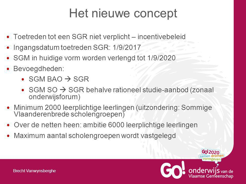 Toetreden tot een SGR niet verplicht – incentivebeleid Ingangsdatum toetreden SGR: 1/9/2017 SGM in huidige vorm worden verlengd tot 1/9/2020 Bevoegdheden: SGM BAO  SGR SGM SO  SGR behalve rationeel studie-aanbod (zonaal onderwijsforum) Minimum 2000 leerplichtige leerlingen (uitzondering: Sommige Vlaanderenbrede scholengroepen) Over de netten heen: ambitie 6000 leerplichtige leerlingen Maximum aantal scholengroepen wordt vastgelegd Het nieuwe concept Brecht Vanwynsberghe
