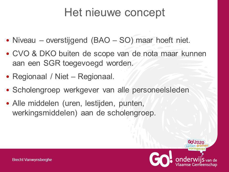 Niveau – overstijgend (BAO – SO) maar hoeft niet. CVO & DKO buiten de scope van de nota maar kunnen aan een SGR toegevoegd worden. Regionaal / Niet –