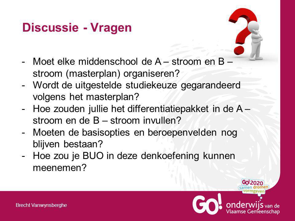 Discussie - Vragen Brecht Vanwynsberghe -Moet elke middenschool de A – stroom en B – stroom (masterplan) organiseren? -Wordt de uitgestelde studiekeuz