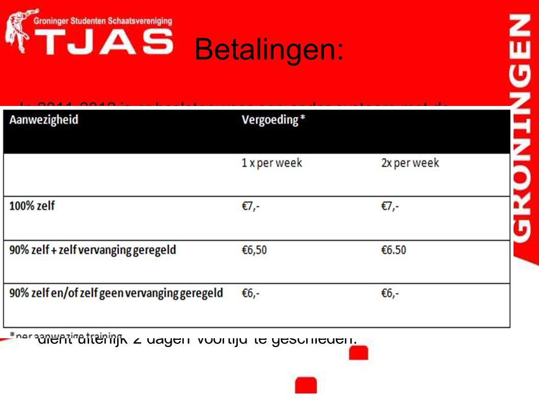 Betalingen: In 2011-2012 is er besloten voor een ander systeem met de volgende uitgangs punten: Recreanttrainers die wedstrijder zijn wordt de baankaa