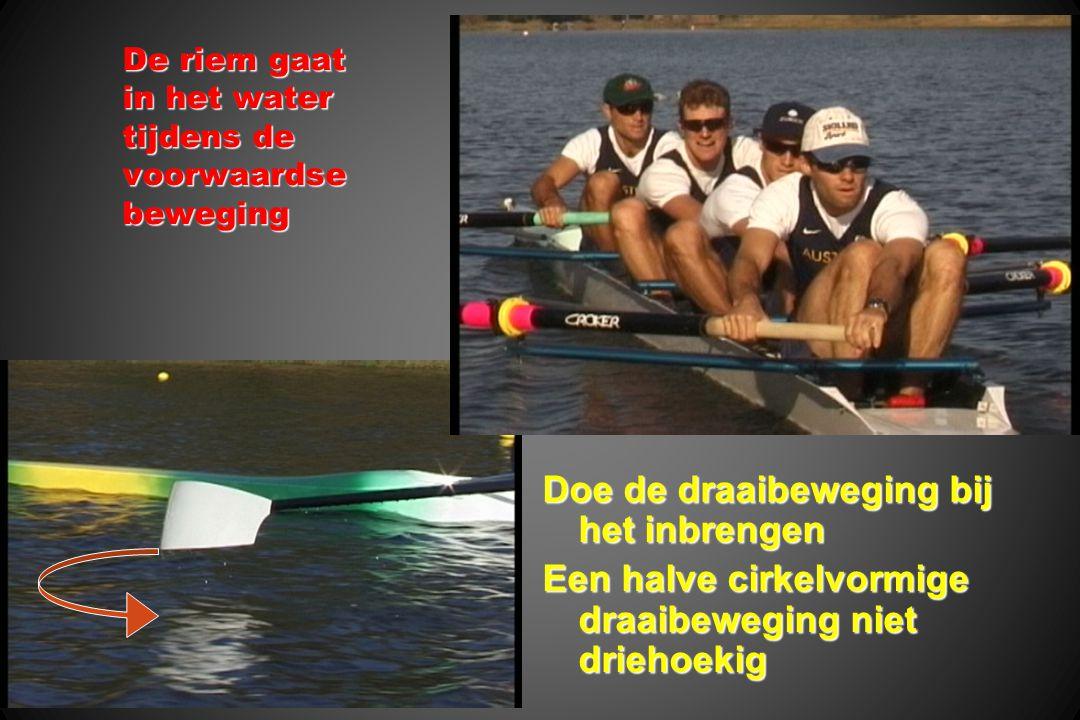 De riem gaat in het water tijdens de voorwaardse beweging Doe de draaibeweging bij het inbrengen Een halve cirkelvormige draaibeweging niet driehoekig