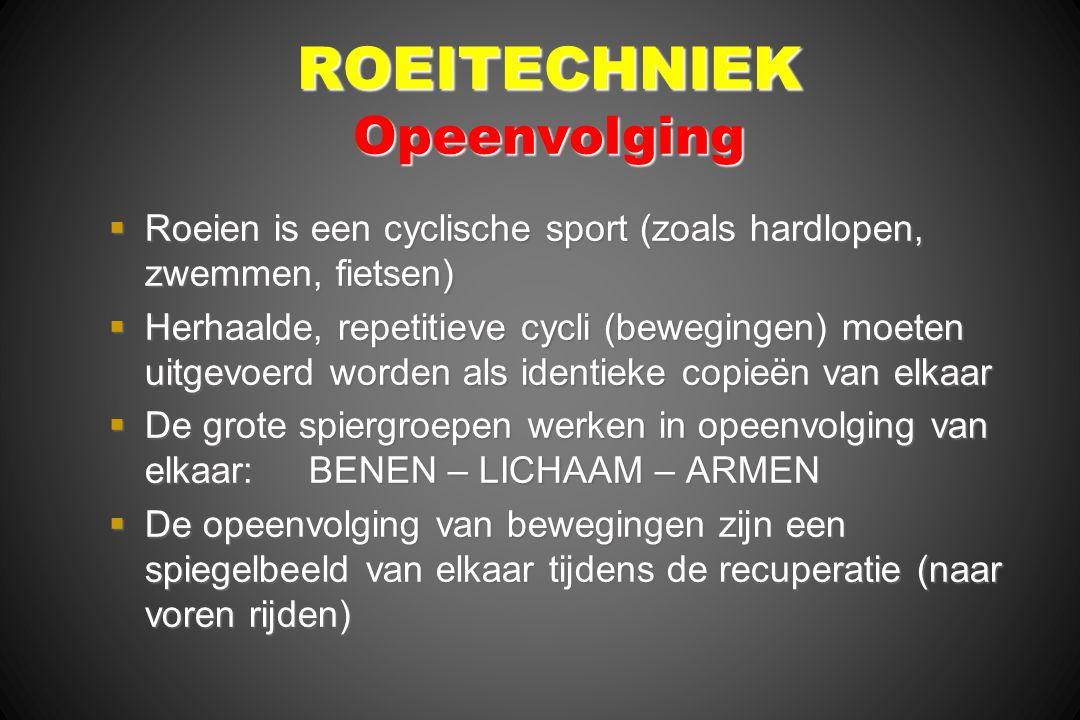 ROEITECHNIEK Opeenvolging  Roeien is een cyclische sport (zoals hardlopen, zwemmen, fietsen)  Herhaalde, repetitieve cycli (bewegingen) moeten uitge