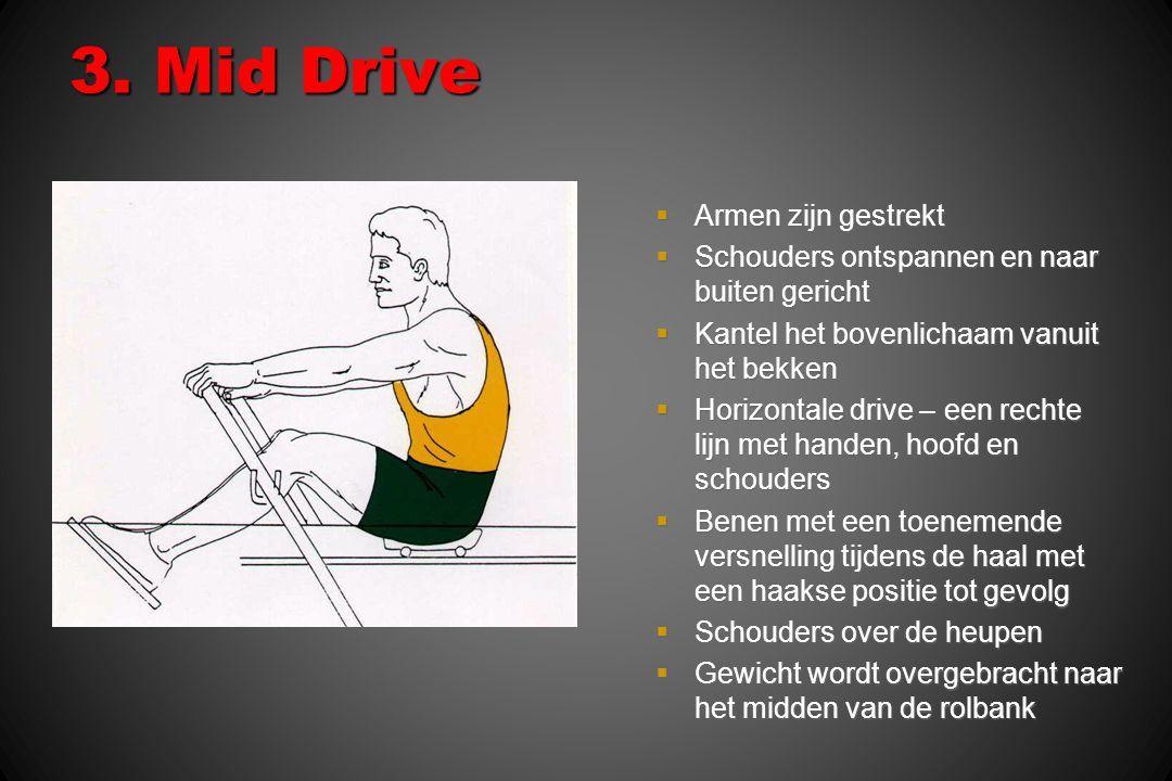 3. Mid Drive  Armen zijn gestrekt  Schouders ontspannen en naar buiten gericht  Kantel het bovenlichaam vanuit het bekken  Horizontale drive – een