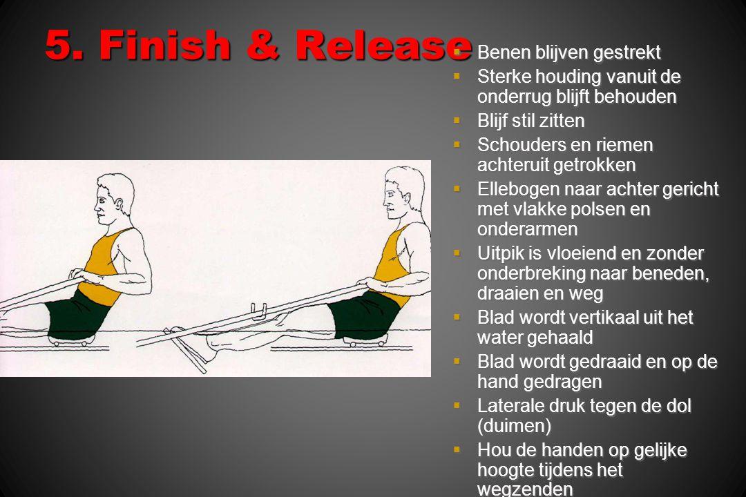5. Finish & Release  Benen blijven gestrekt  Sterke houding vanuit de onderrug blijft behouden  Blijf stil zitten  Schouders en riemen achteruit g