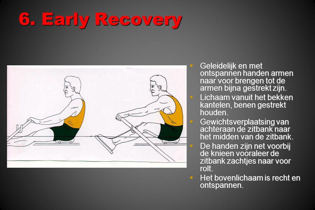 6. Early Recovery  Geleidelijk en met ontspannen handen armen naar voor brengen tot de armen bijna gestrekt zijn.  Lichaam vanuit het bekken kantele