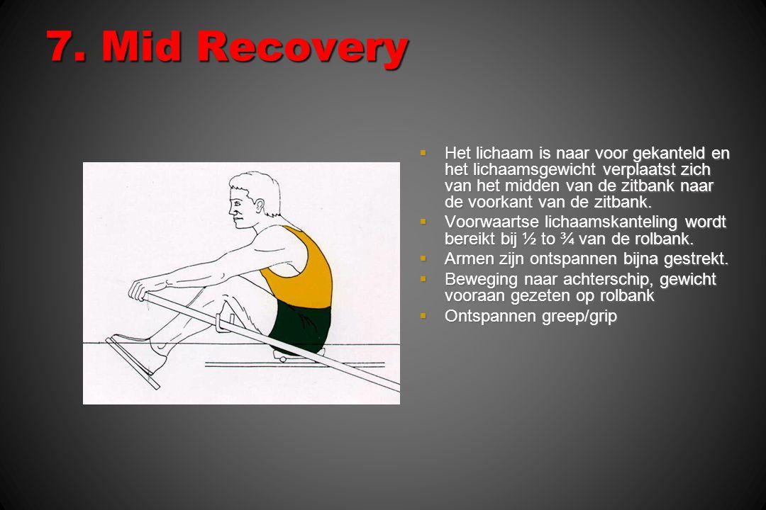 7. Mid Recovery  Het lichaam is naar voor gekanteld en het lichaamsgewicht verplaatst zich van het midden van de zitbank naar de voorkant van de zitb