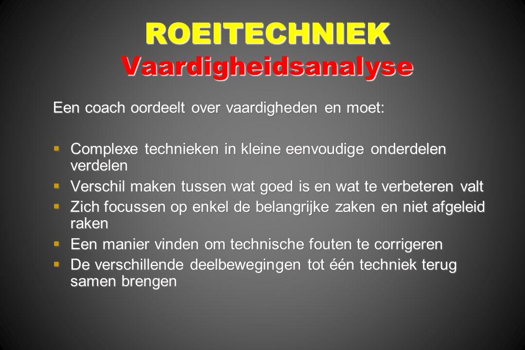 ROEITECHNIEK Vaardigheidsanalyse Een coach oordeelt over vaardigheden en moet:  Complexe technieken in kleine eenvoudige onderdelen verdelen  Versch