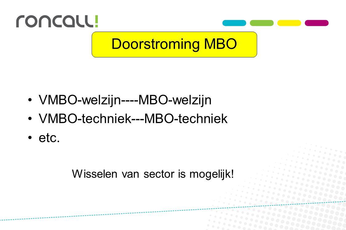 Doorstroming MBO VMBO-welzijn----MBO-welzijn VMBO-techniek---MBO-techniek etc. Wisselen van sector is mogelijk!