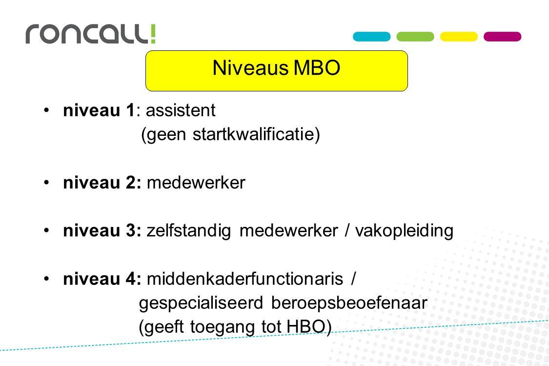 Niveaus MBO niveau 1: assistent (geen startkwalificatie) niveau 2: medewerker niveau 3: zelfstandig medewerker / vakopleiding niveau 4: middenkaderfunctionaris / gespecialiseerd beroepsbeoefenaar (geeft toegang tot HBO)