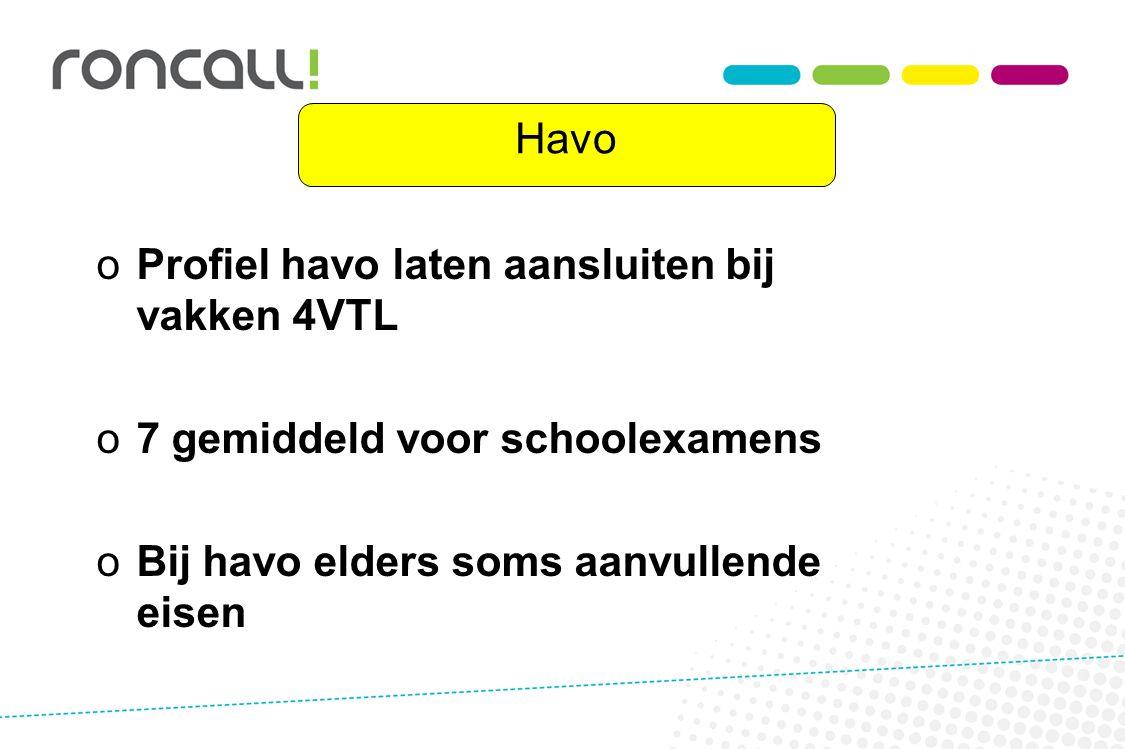 Havo o oProfiel havo laten aansluiten bij vakken 4VTL o o7 gemiddeld voor schoolexamens o oBij havo elders soms aanvullende eisen