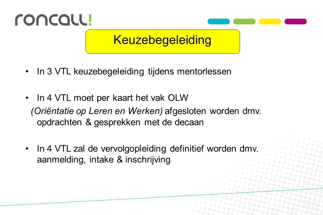 Keuzebegeleiding In 3 VTL keuzebegeleiding tijdens mentorlessen In 4 VTL moet per kaart het vak OLW (Oriëntatie op Leren en Werken) afgesloten worden dmv.
