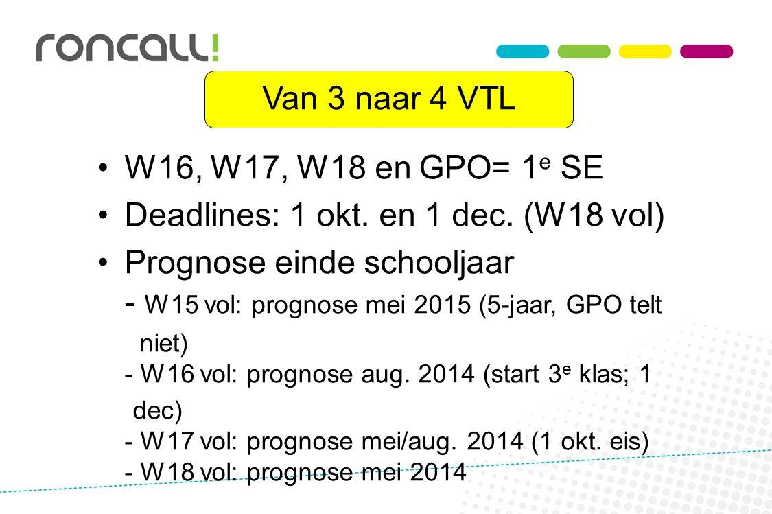 Van 3 naar 4 VTL W16, W17, W18 en GPO= 1 e SE Deadlines: 1 okt. en 1 dec. (W18 vol) Prognose einde schooljaar - W15 vol: prognose mei 2015 (5-jaar, GP