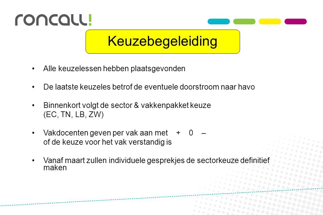 Keuzebegeleiding Alle keuzelessen hebben plaatsgevonden De laatste keuzeles betrof de eventuele doorstroom naar havo Binnenkort volgt de sector & vakk
