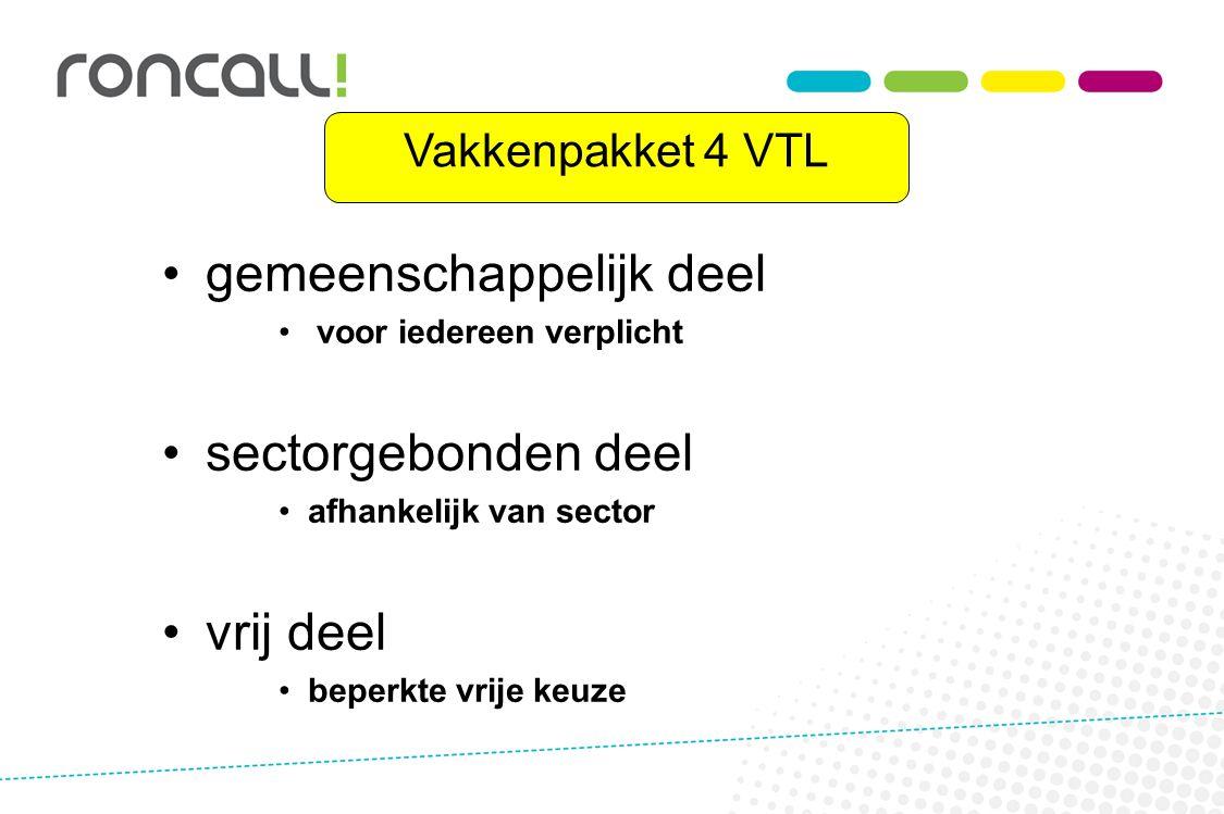 Vakkenpakket 4 VTL gemeenschappelijk deel voor iedereen verplicht sectorgebonden deel afhankelijk van sector vrij deel beperkte vrije keuze
