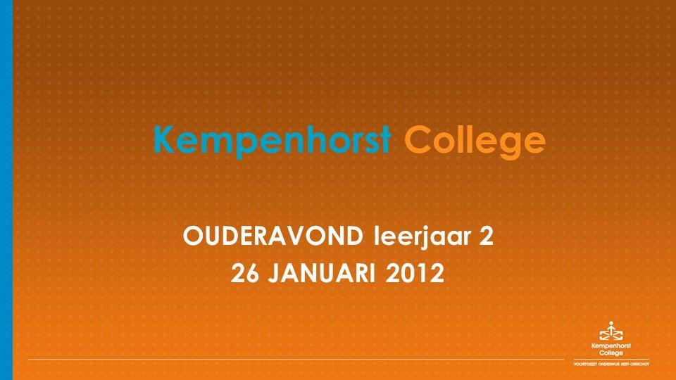 OUDERAVOND leerjaar 2 26 JANUARI 2012 Kempenhorst College