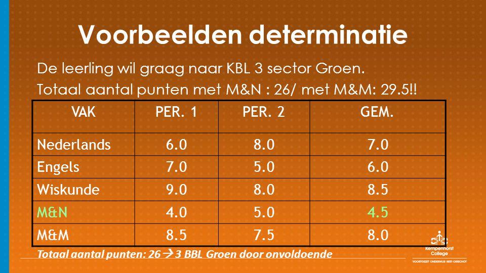 Voorbeelden determinatie De leerling wil graag naar KBL 3 sector Groen.