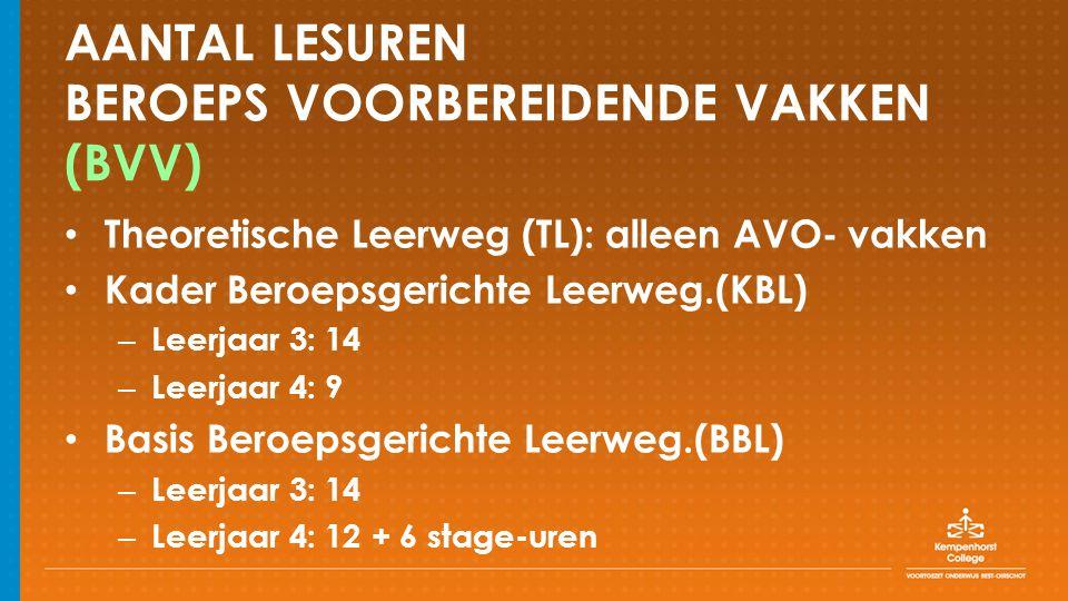 AANTAL LESUREN BEROEPS VOORBEREIDENDE VAKKEN (BVV) Theoretische Leerweg (TL): alleen AVO- vakken Kader Beroepsgerichte Leerweg.(KBL) – Leerjaar 3: 14 – Leerjaar 4: 9 Basis Beroepsgerichte Leerweg.(BBL) – Leerjaar 3: 14 – Leerjaar 4: 12 + 6 stage-uren