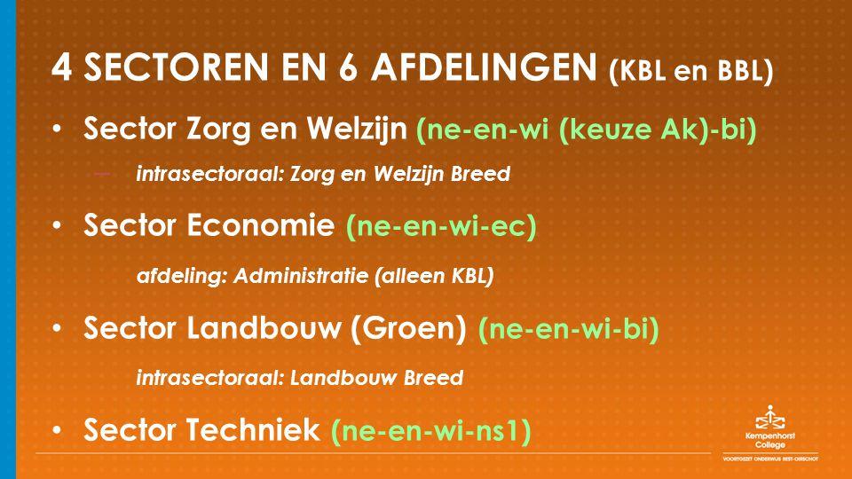 4 SECTOREN EN 6 AFDELINGEN (KBL en BBL) Sector Zorg en Welzijn (ne-en-wi (keuze Ak)-bi) – intrasectoraal: Zorg en Welzijn Breed Sector Economie (ne-en-wi-ec) afdeling: Administratie (alleen KBL) Sector Landbouw (Groen) (ne-en-wi-bi) intrasectoraal: Landbouw Breed Sector Techniek (ne-en-wi-ns1)