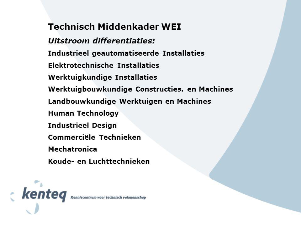 Technisch Middenkader WEI Uitstroom differentiaties: Industrieel geautomatiseerde Installaties Elektrotechnische Installaties Werktuigkundige Installaties Werktuigbouwkundige Constructies.