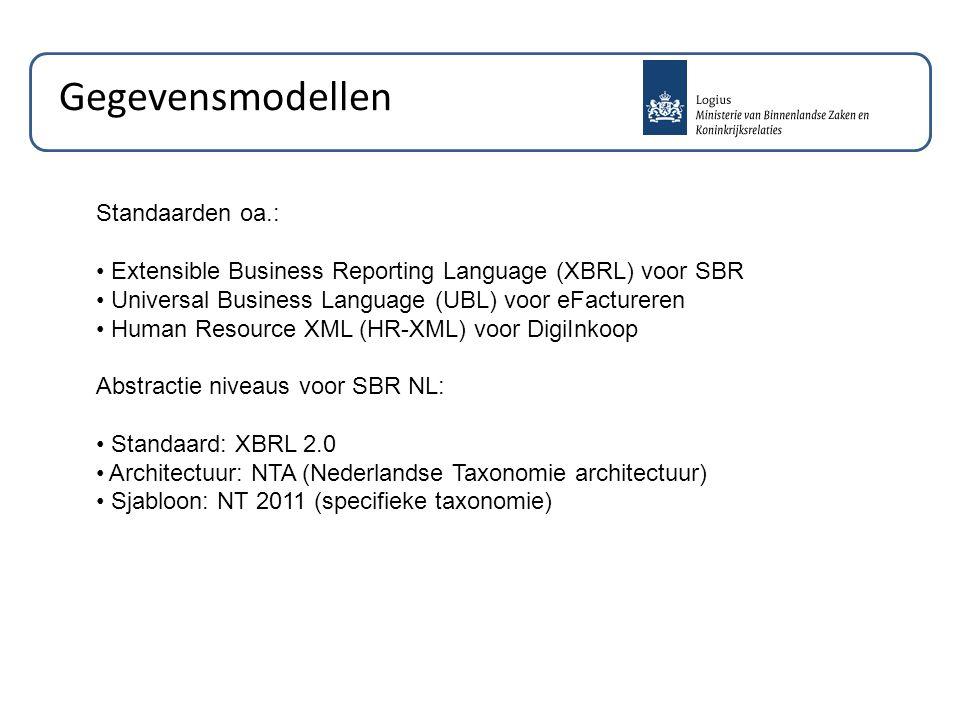 Gegevensmodellen Standaarden oa.: Extensible Business Reporting Language (XBRL) voor SBR Universal Business Language (UBL) voor eFactureren Human Resource XML (HR-XML) voor DigiInkoop Abstractie niveaus voor SBR NL: Standaard: XBRL 2.0 Architectuur: NTA (Nederlandse Taxonomie architectuur) Sjabloon: NT 2011 (specifieke taxonomie)