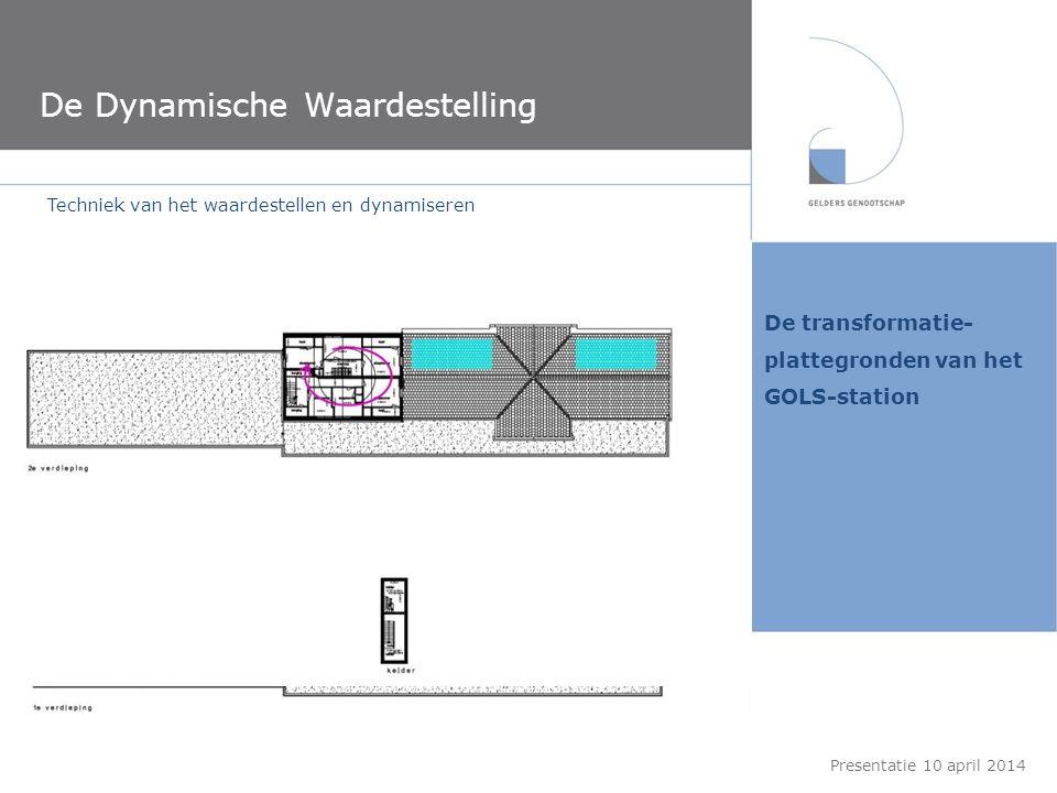 De transformatie- plattegronden van het GOLS-station De Dynamische Waardestelling Presentatie 10 april 2014 Techniek van het waardestellen en dynamise